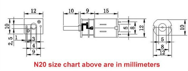 Dimension motoreducteur 30rpm 6v